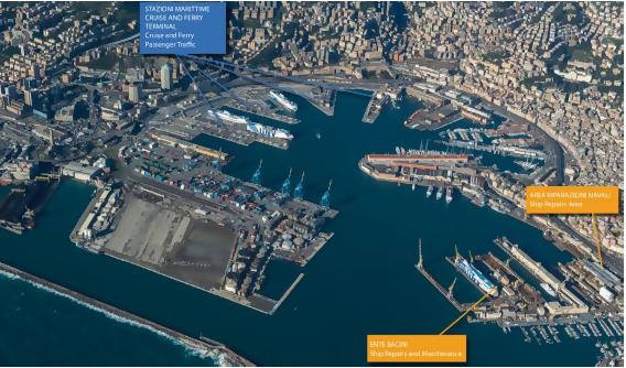 Mappa dei terminal passeggeri nel Porto di Genova